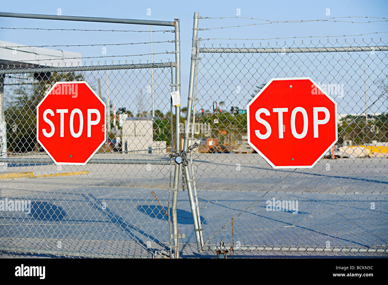Stop signs on gates - Stock Image