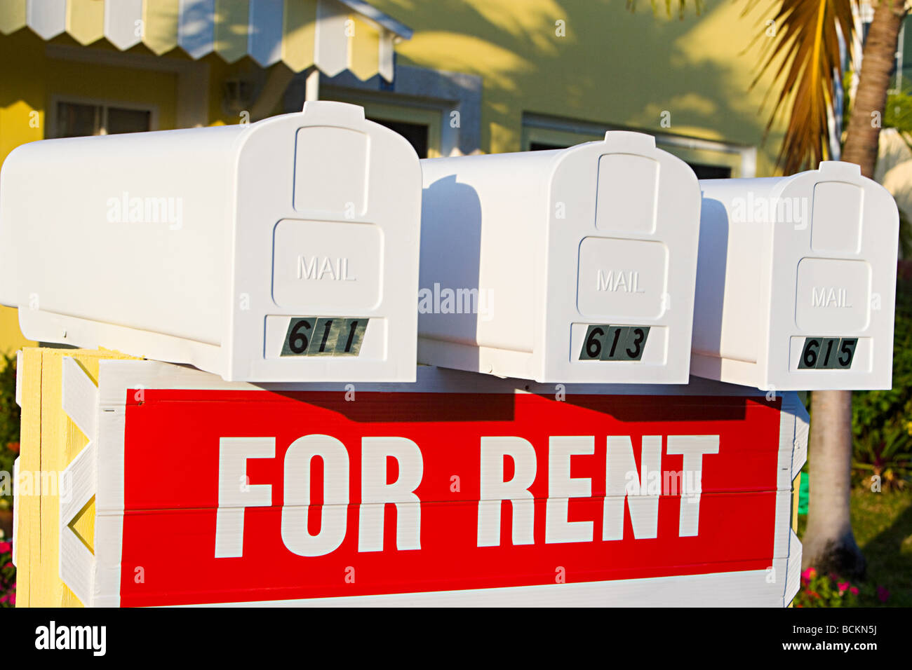 Mailboxes and for rent sign - Stock Image