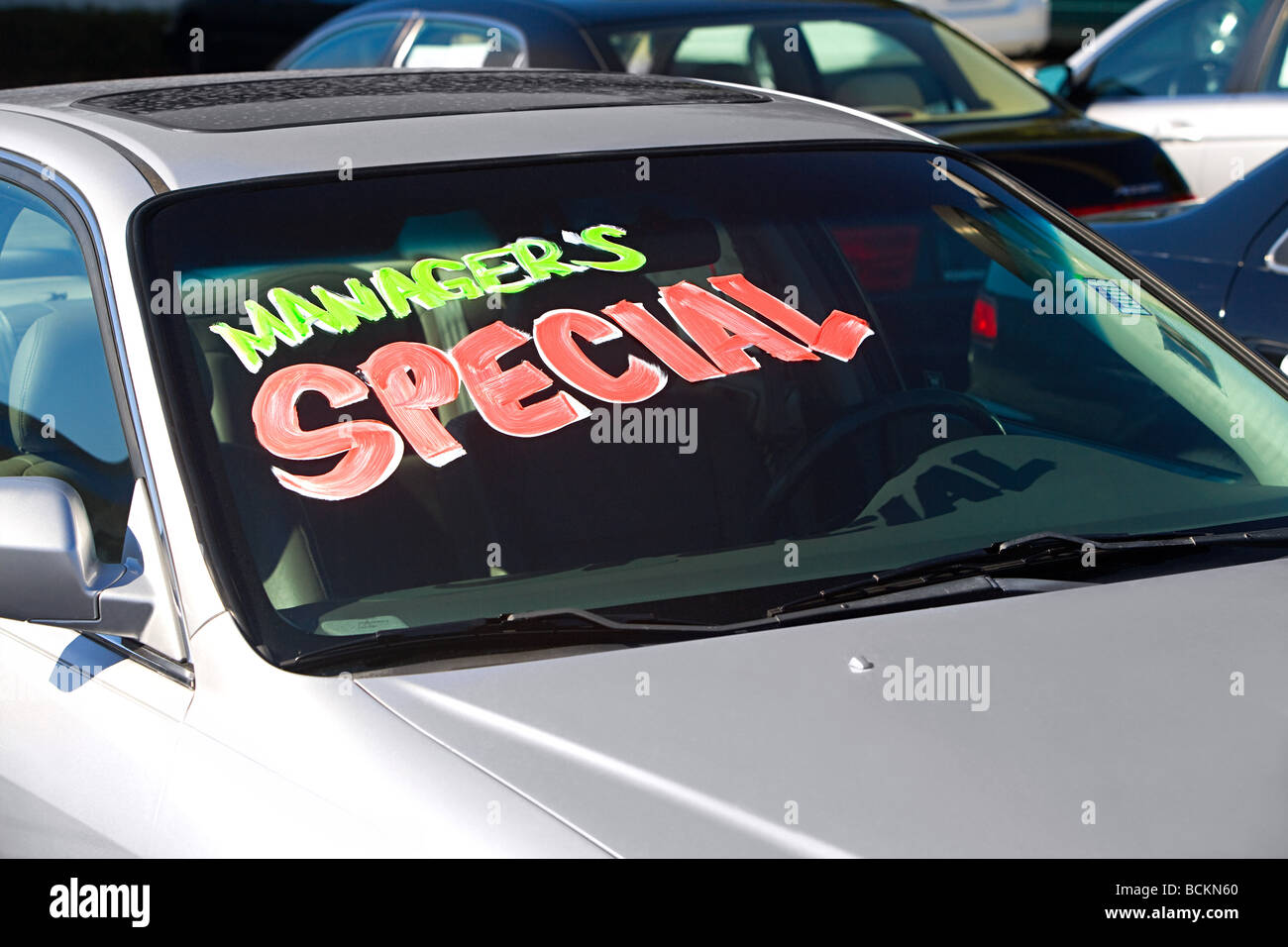 Sign in car window - Stock Image