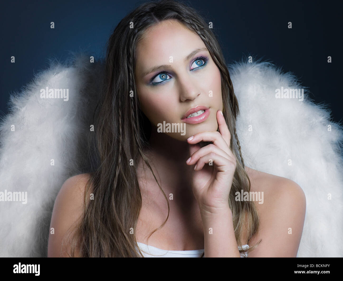 Girl with angel wings - Stock Image