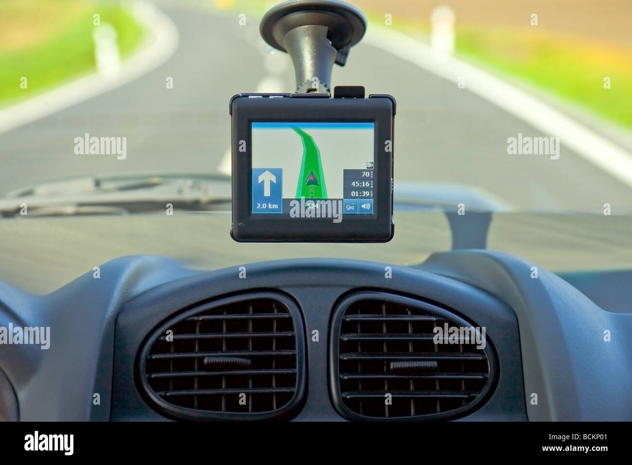 gps navigation in a car - Stock Image