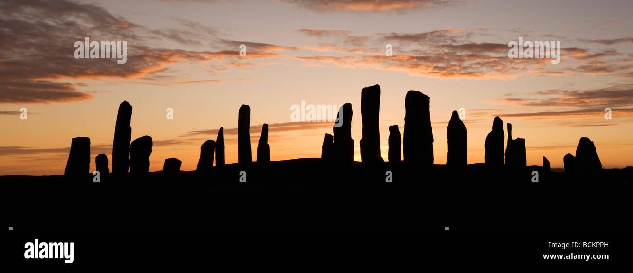 Callanish Stone Circle, Sunset at Summer Solstice, Isle of Lewis, Outer Hebrides, Scotland - Stock Image