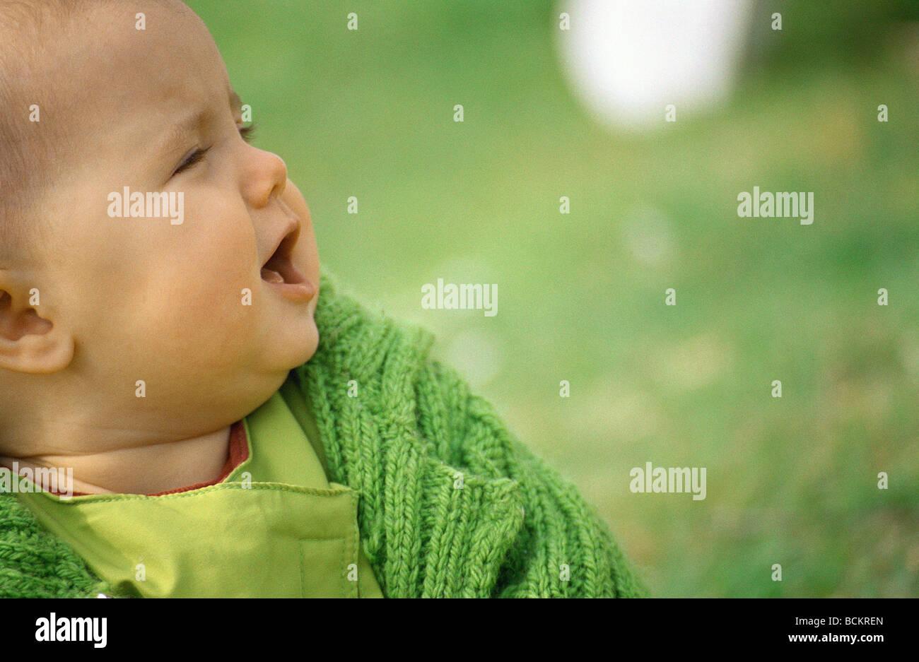Baby crying - Stock Image