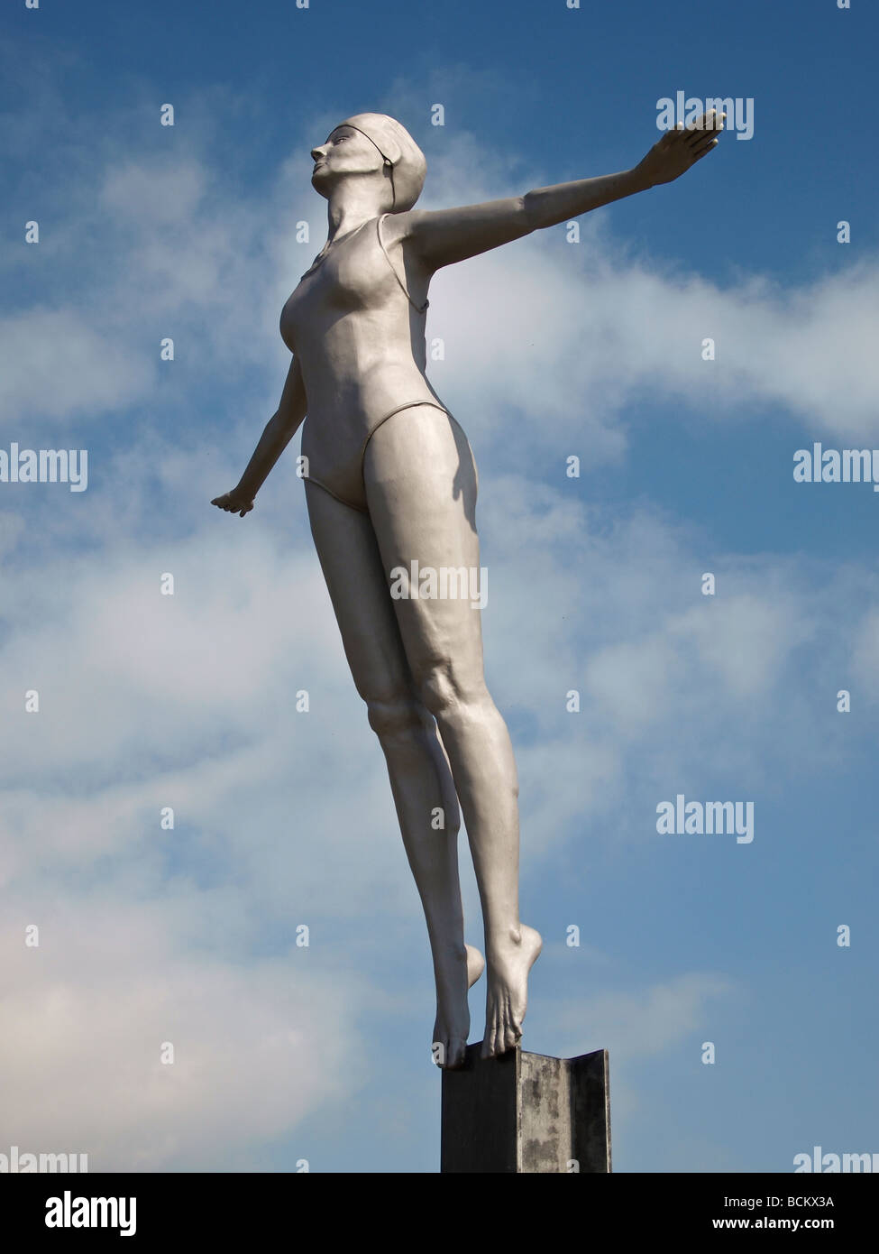 Diving Belle statue at Scarborough Harbour Yorkshire UK - Stock Image