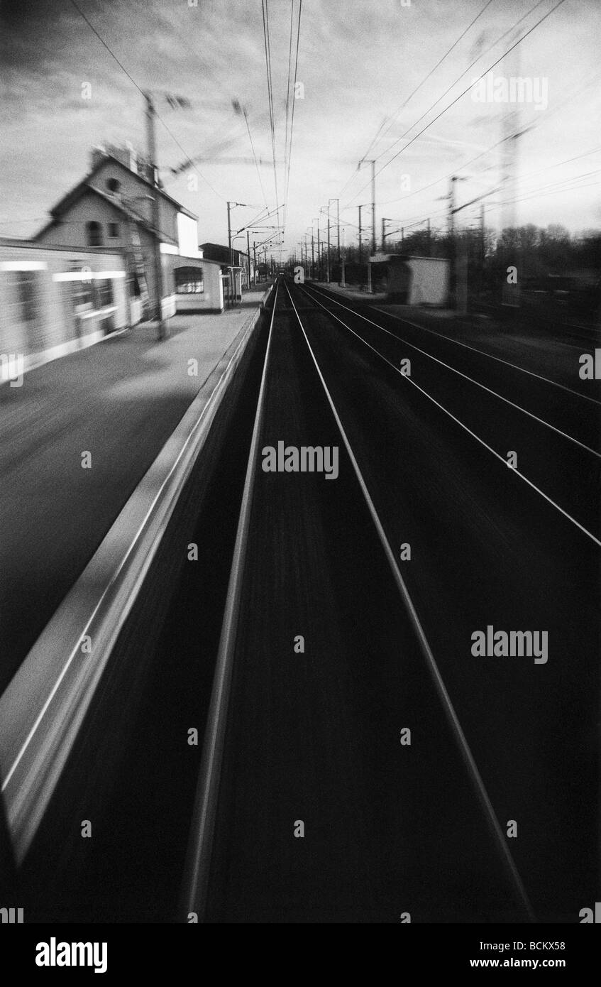 Train station, b&w, blurred motion - Stock Image