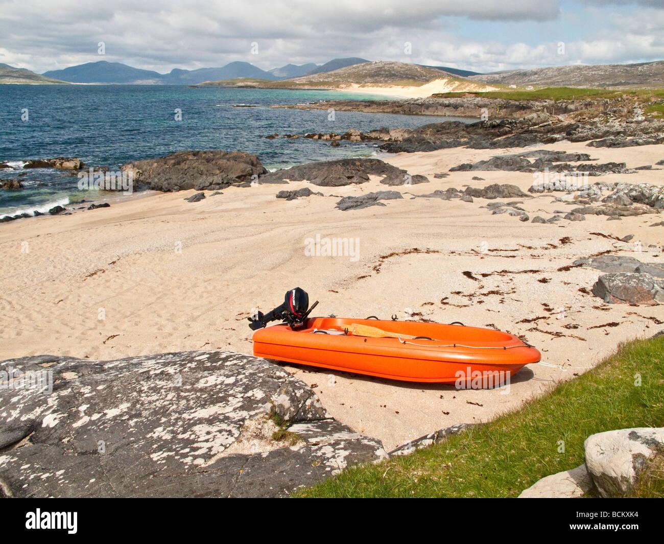 Dinghy on beach at Borve South Harris Scotland UK - Stock Image