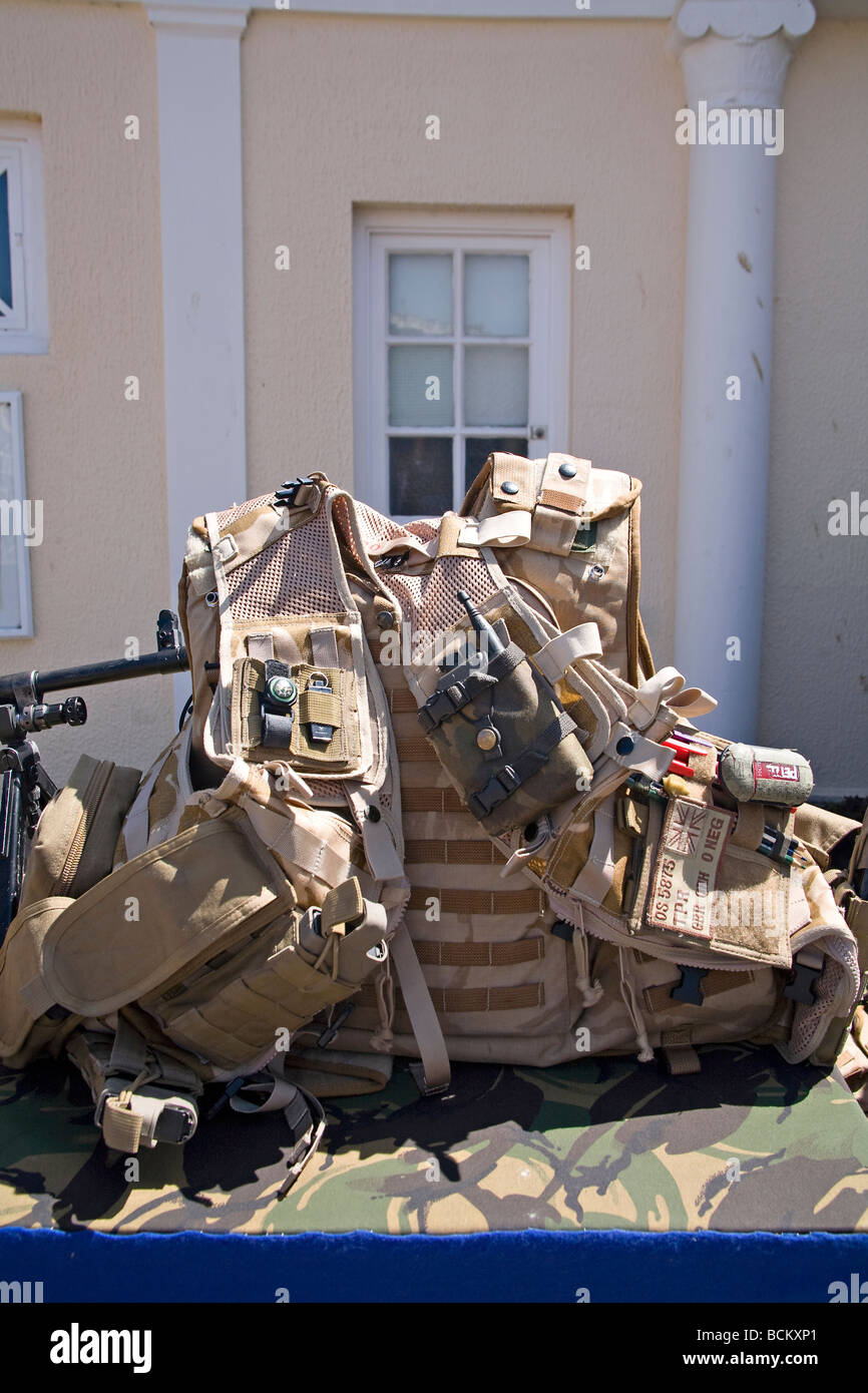 Fully equipped British army vest. Worthing, West Sussex, UK - Stock Image