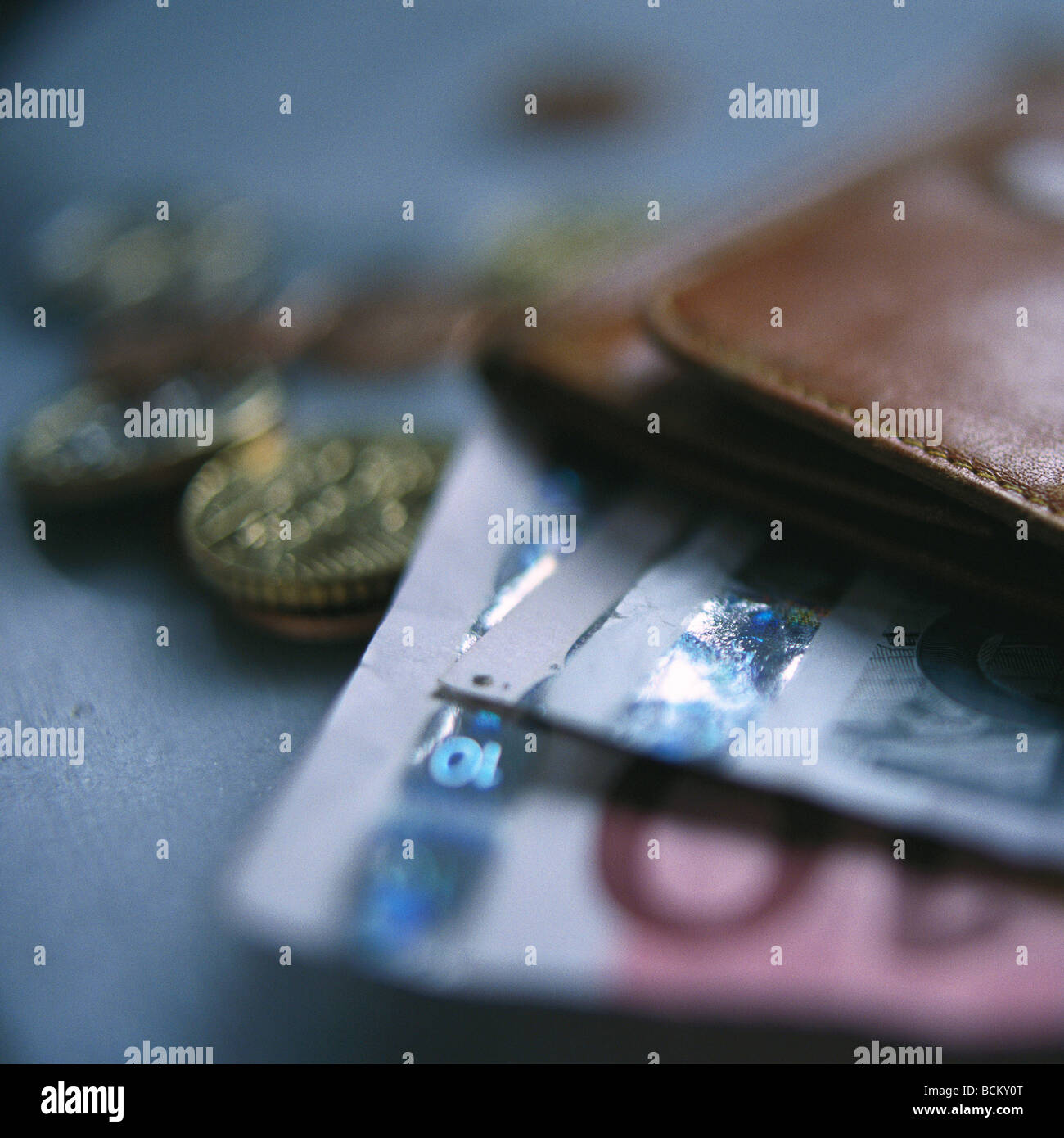 Euro currency and edge of wallet, close-up - Stock Image