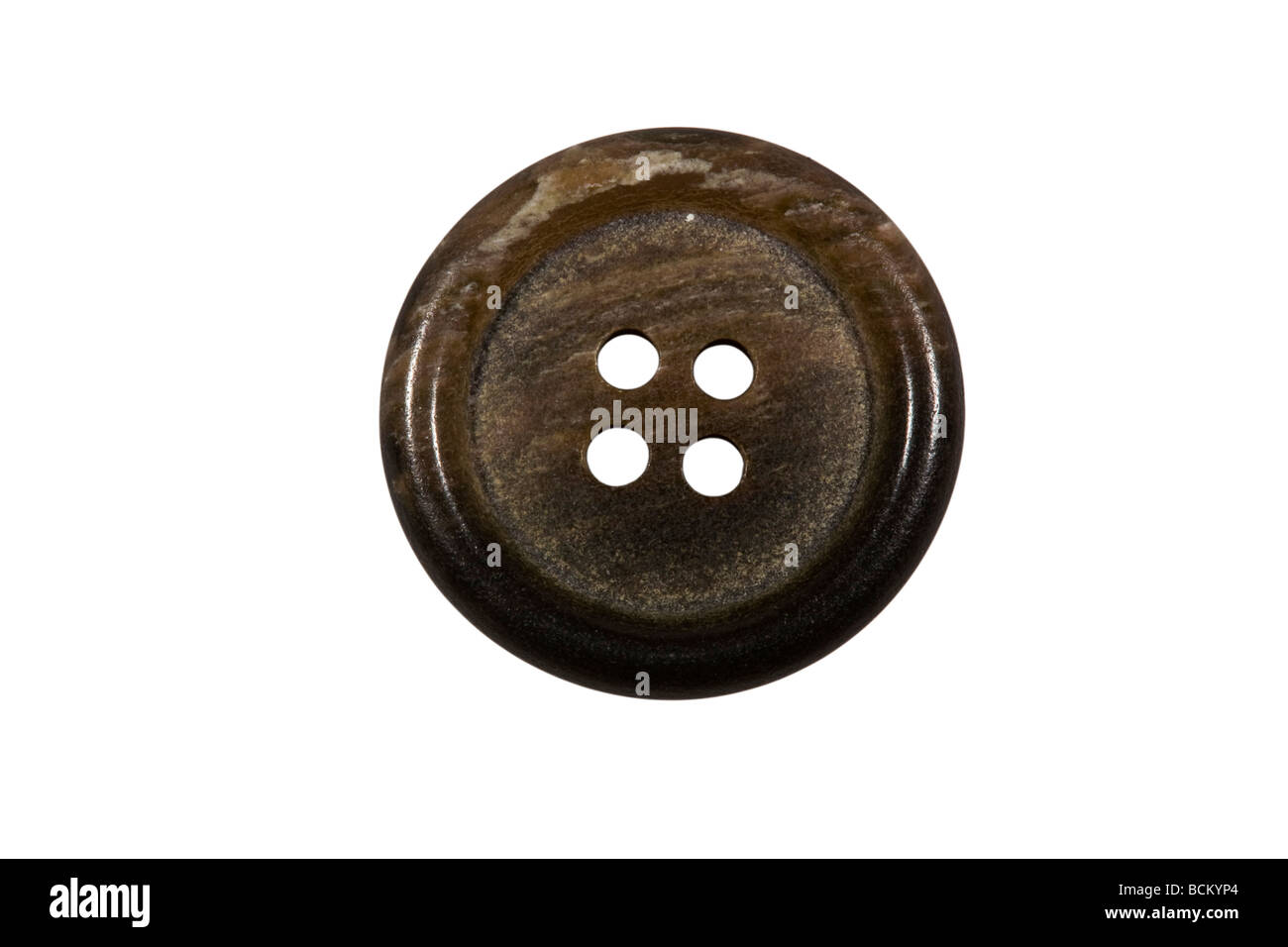 Brown wood coloured button - Stock Image