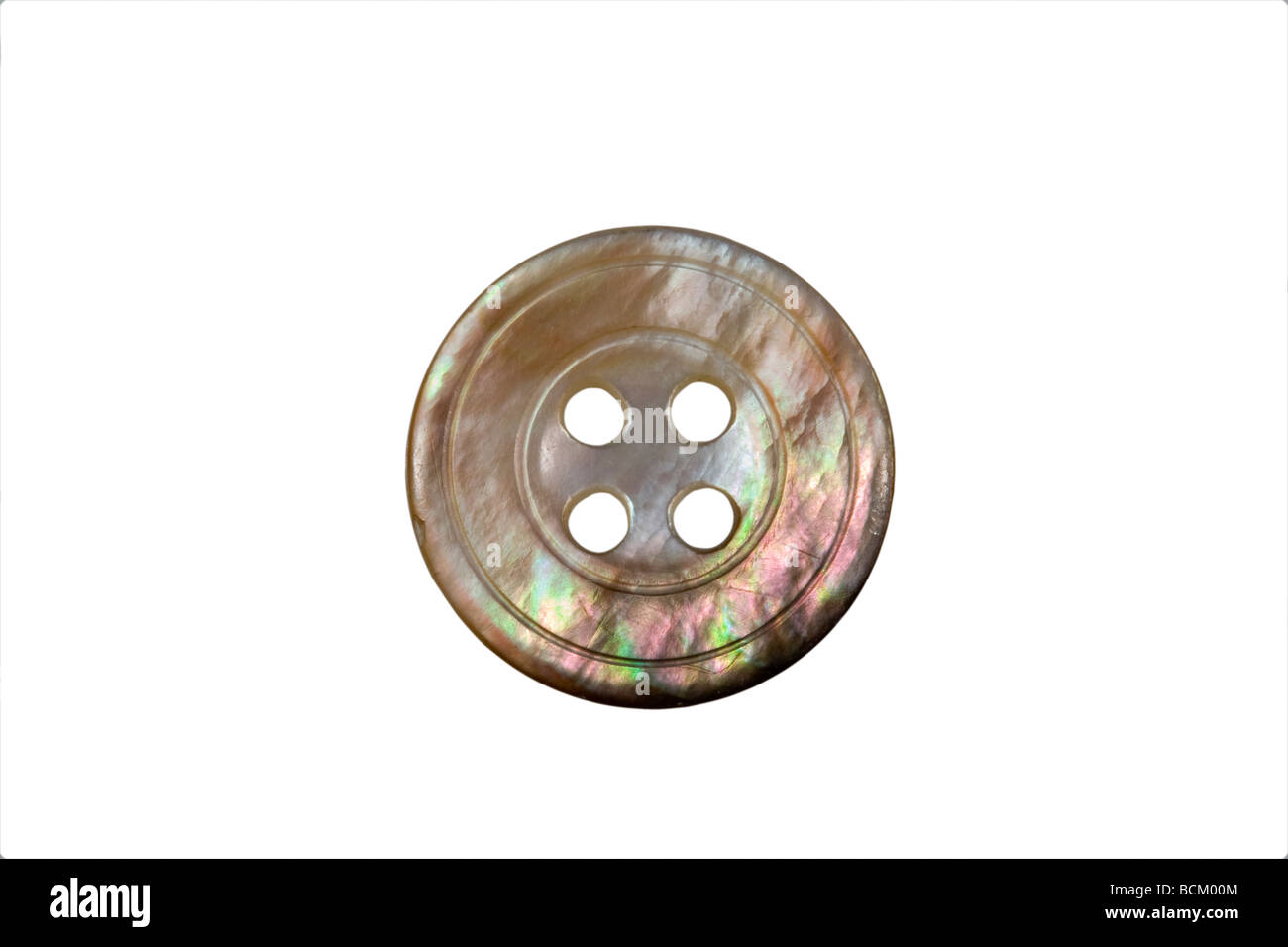 Mother of pearl coloured button - Stock Image