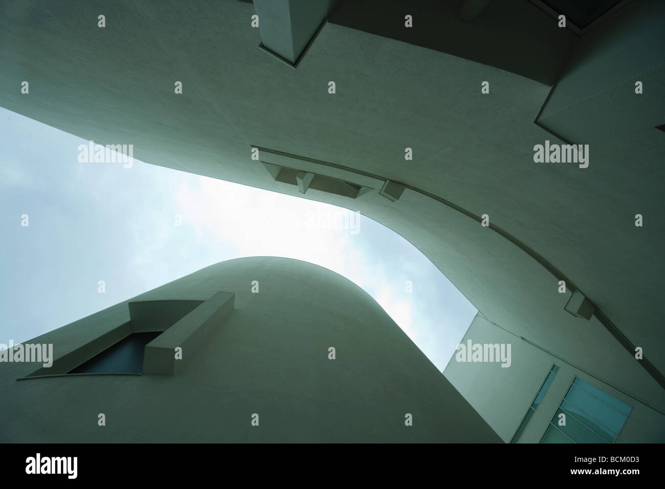 Architectural shot, curved buildings, view from directly below - Stock Image
