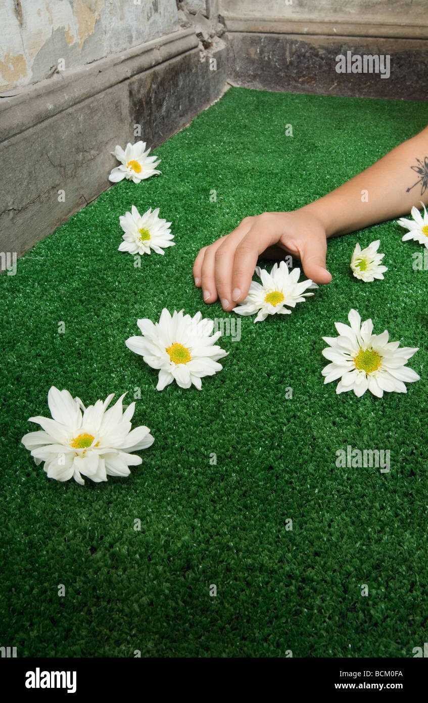 Woman picking up flower from artificial turf, cropped view of arm - Stock Image