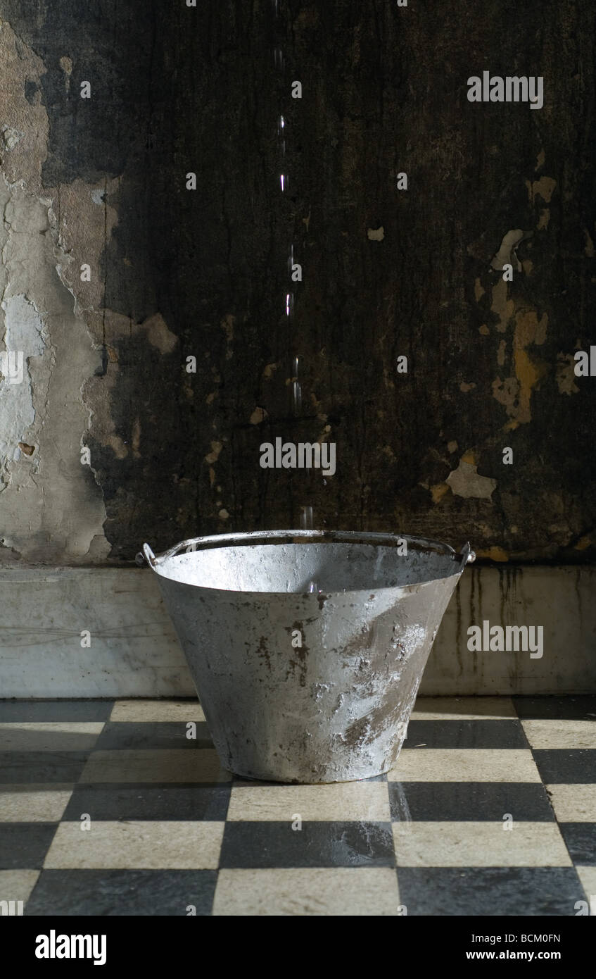 Water dripping into bucket - Stock Image