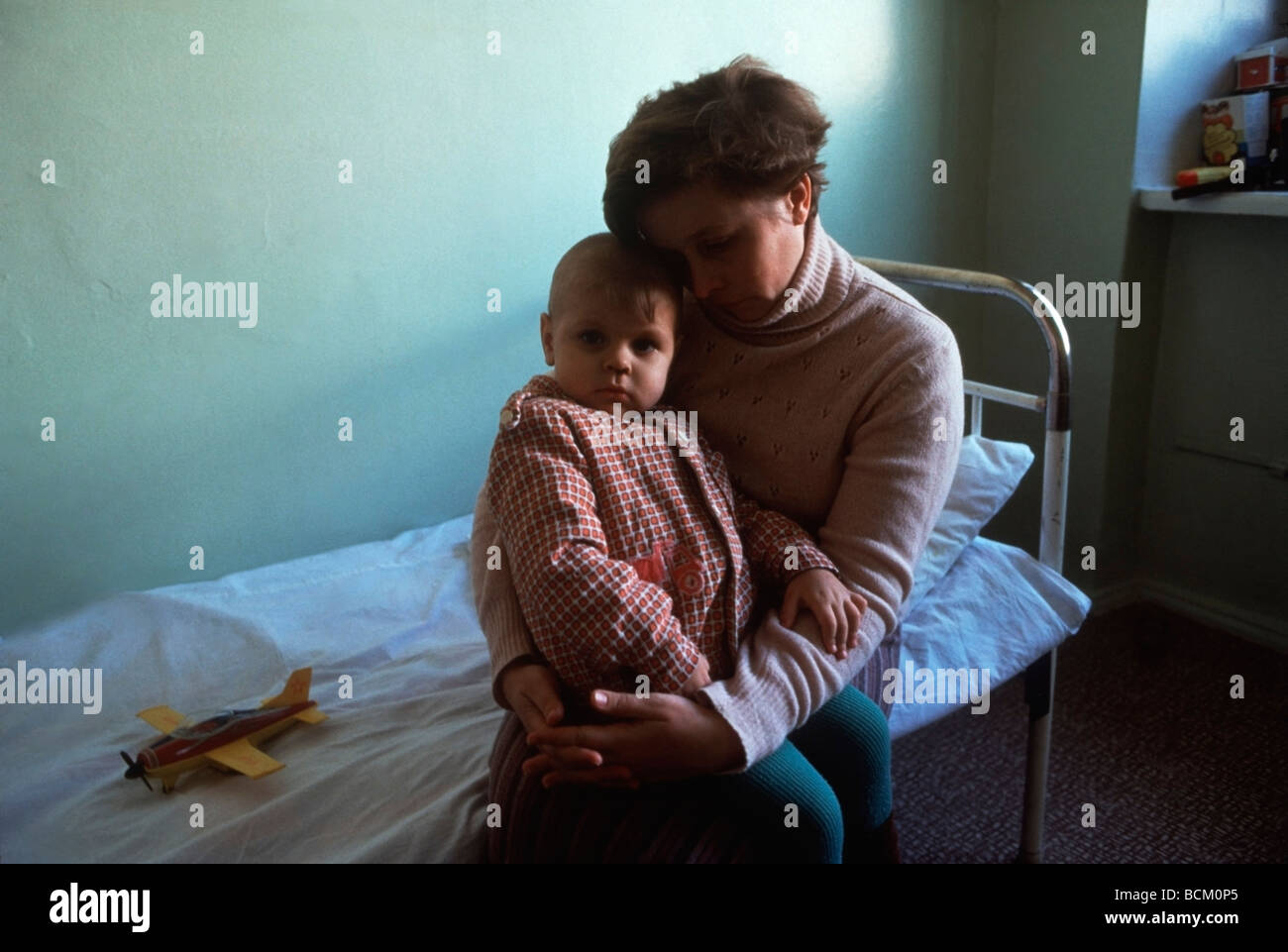 Ill child and Mother at the Children's Hematology Center in Minsk, Byelorussia - Stock Image