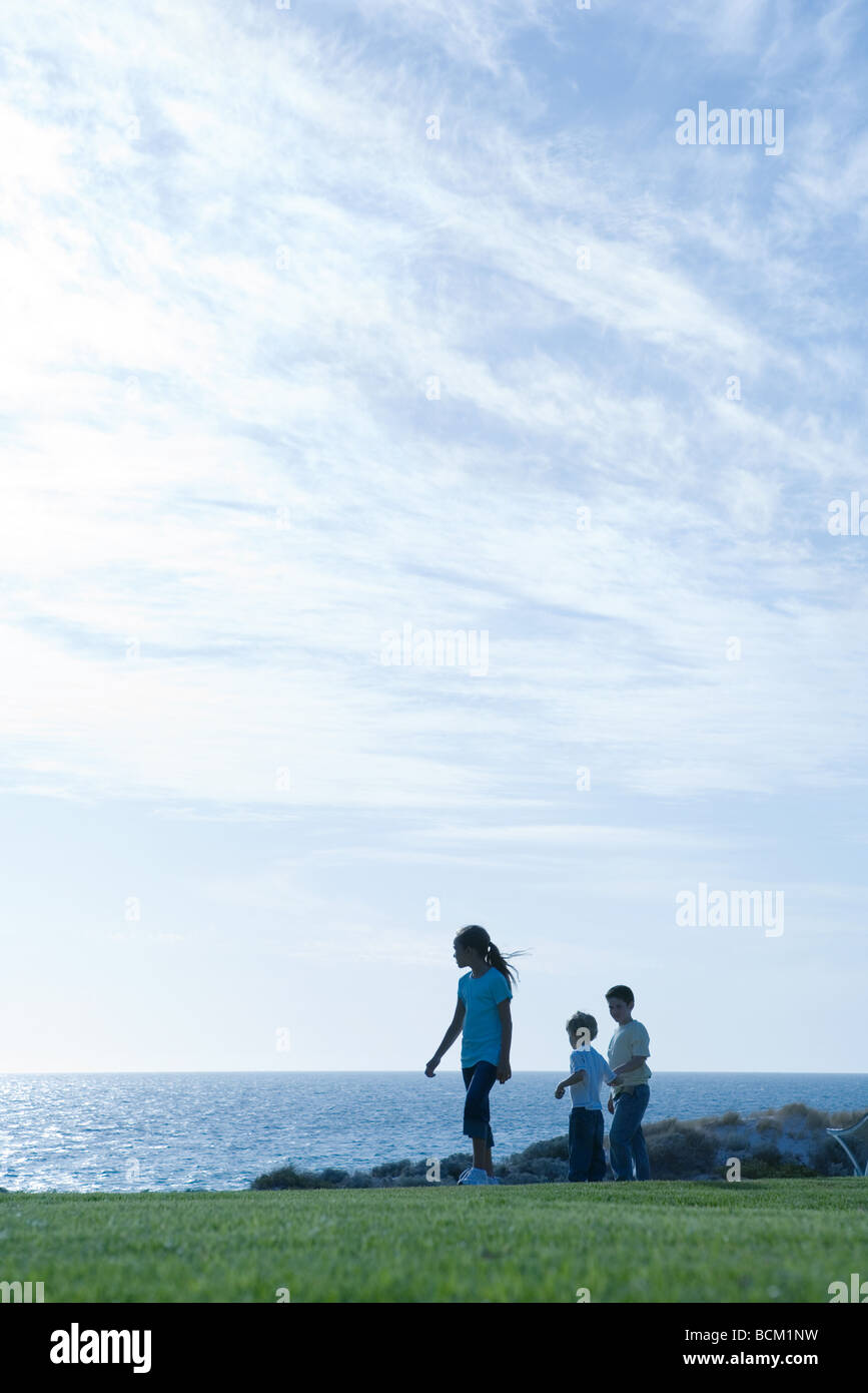 Children standing on grass, ocean horizon in background - Stock Image