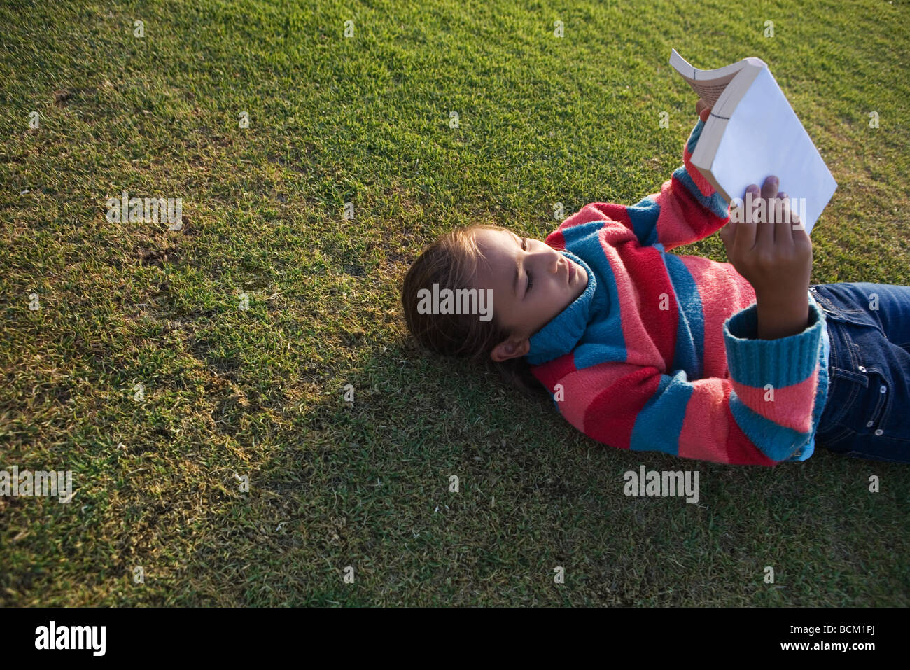 Girl lying on grass reading book, high angle view - Stock Image