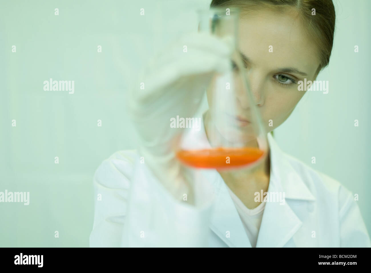 Female scientist holding up beaker with liquid inside, looking down, close-up - Stock Image