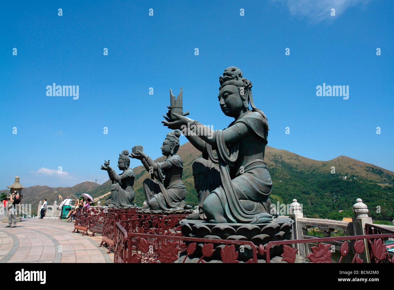 China Hong Kong Lantau island Tien Tan Buddha statue in Po Lin temple Ngong Ping district - Stock Image