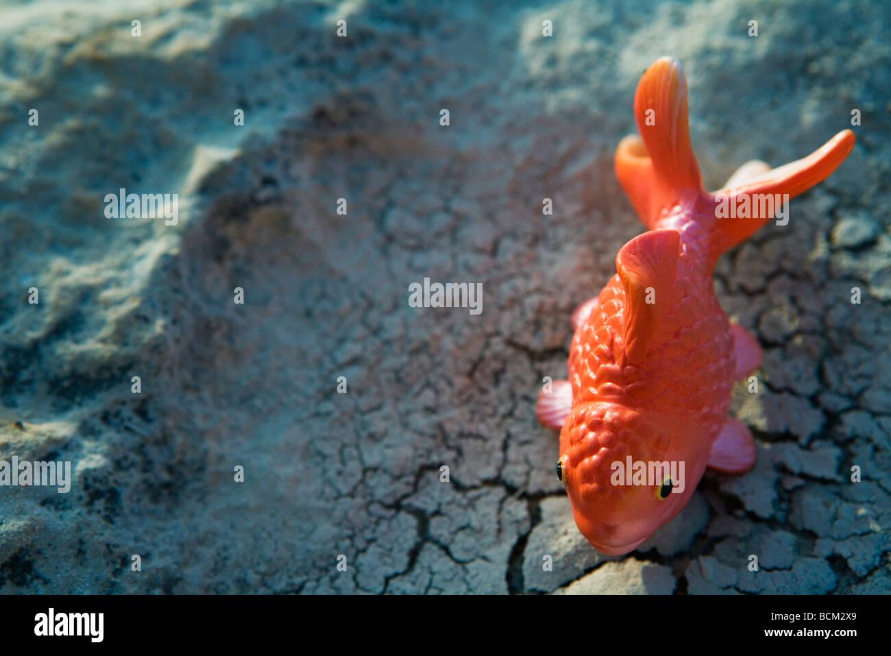Toy goldfish on cracked surface - Stock Image