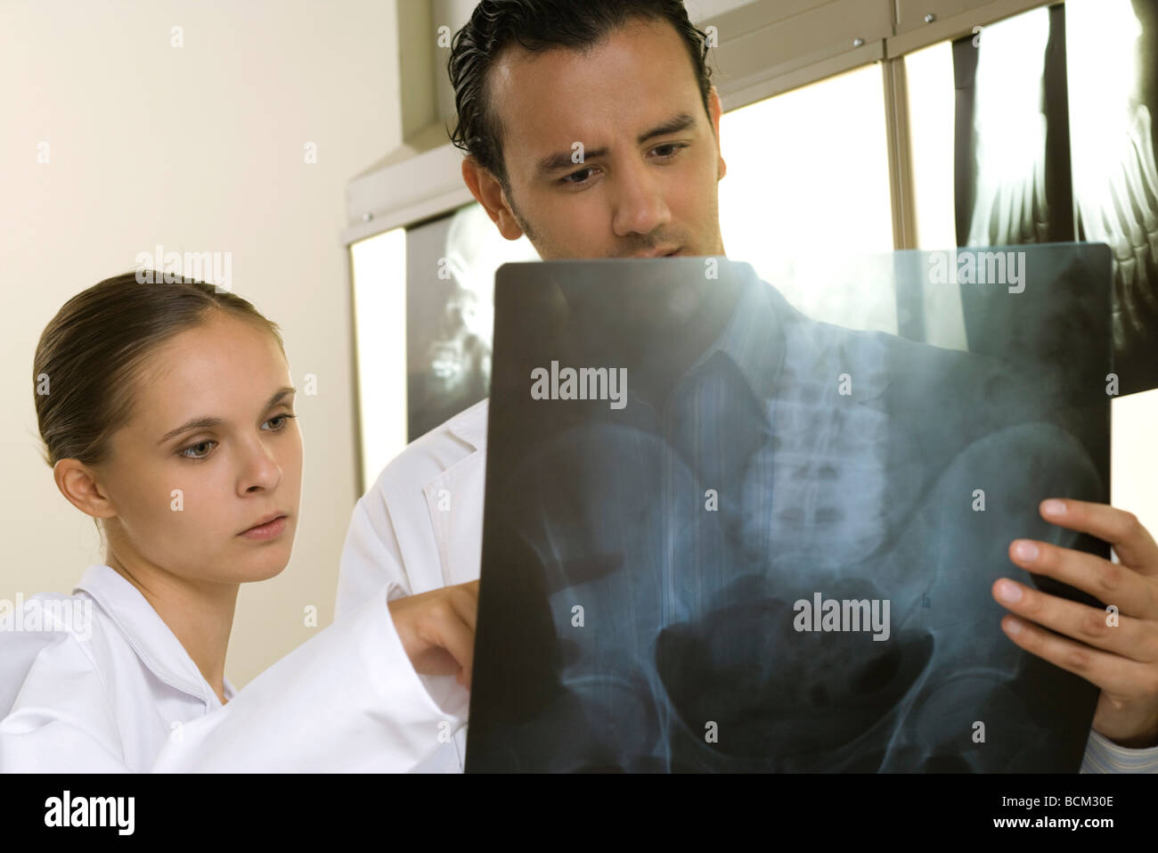 Medical colleagues studying x-ray together - Stock Image