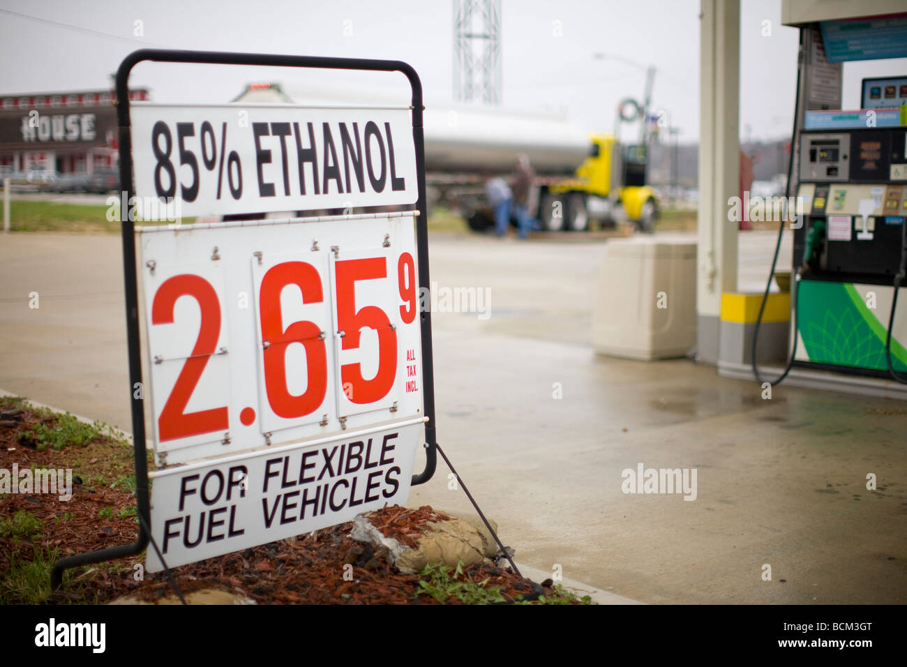 Sign for E 85 Ethanol Blend Fuel - Stock Image