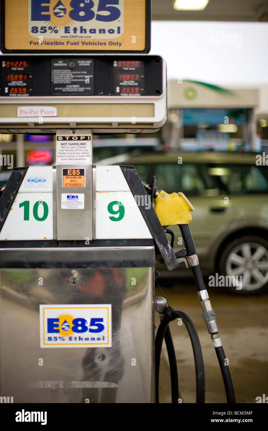 E 85 Ethanol Blend fuel pump at a gas station - Stock Image