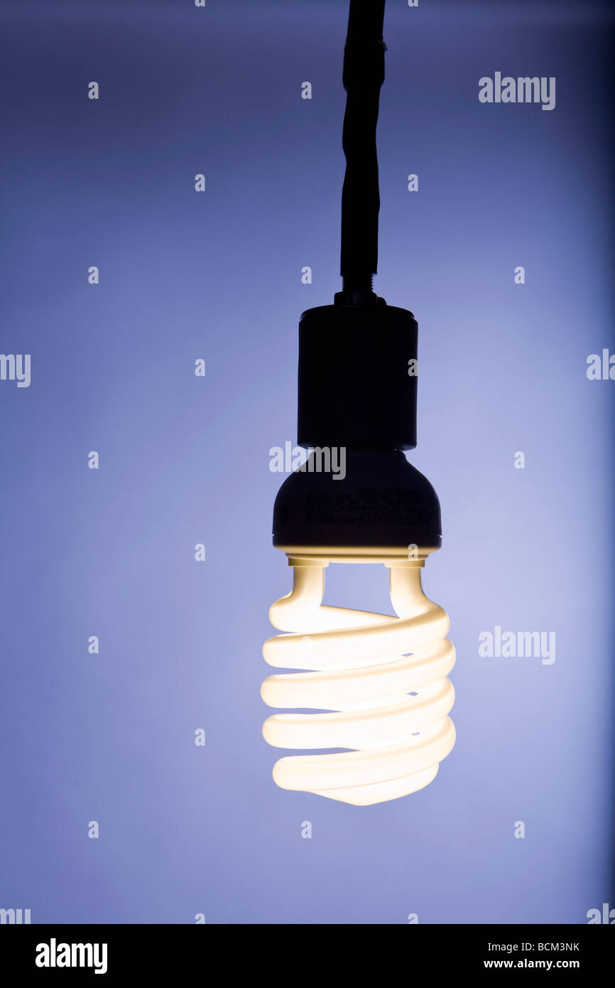 Energy efficient Compact fluorescent lightbulb - Stock Image