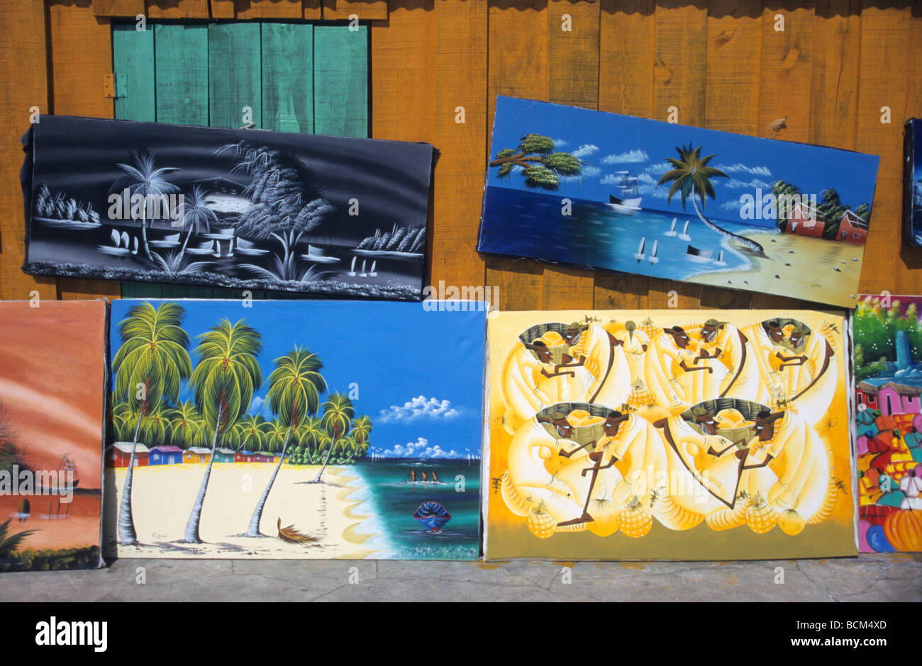 Naive paintings on local art market -  Dominican Republic - Saona island - Caribbean - Stock Image