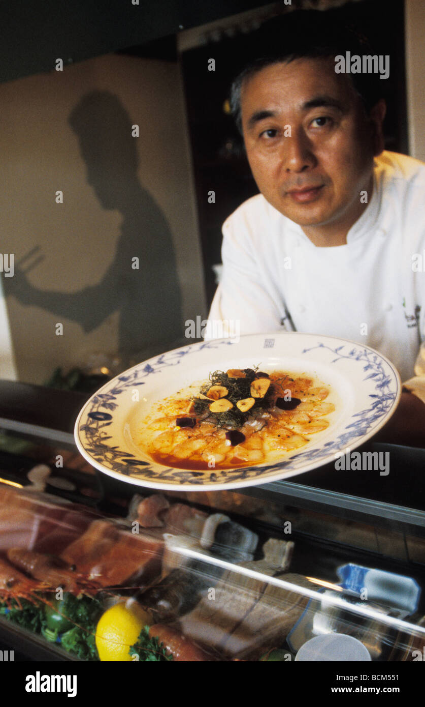 Chef Nobu Matsuhisa at Nobu restaurant in Los Angeles California Stock Photo