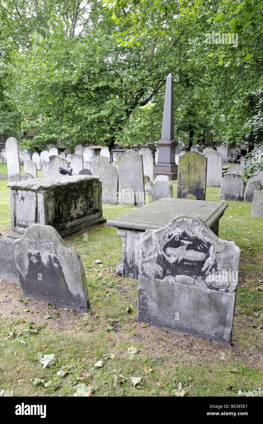 Gravestones Bunhill Fields Burial Ground Islington London England UK Stock Photo