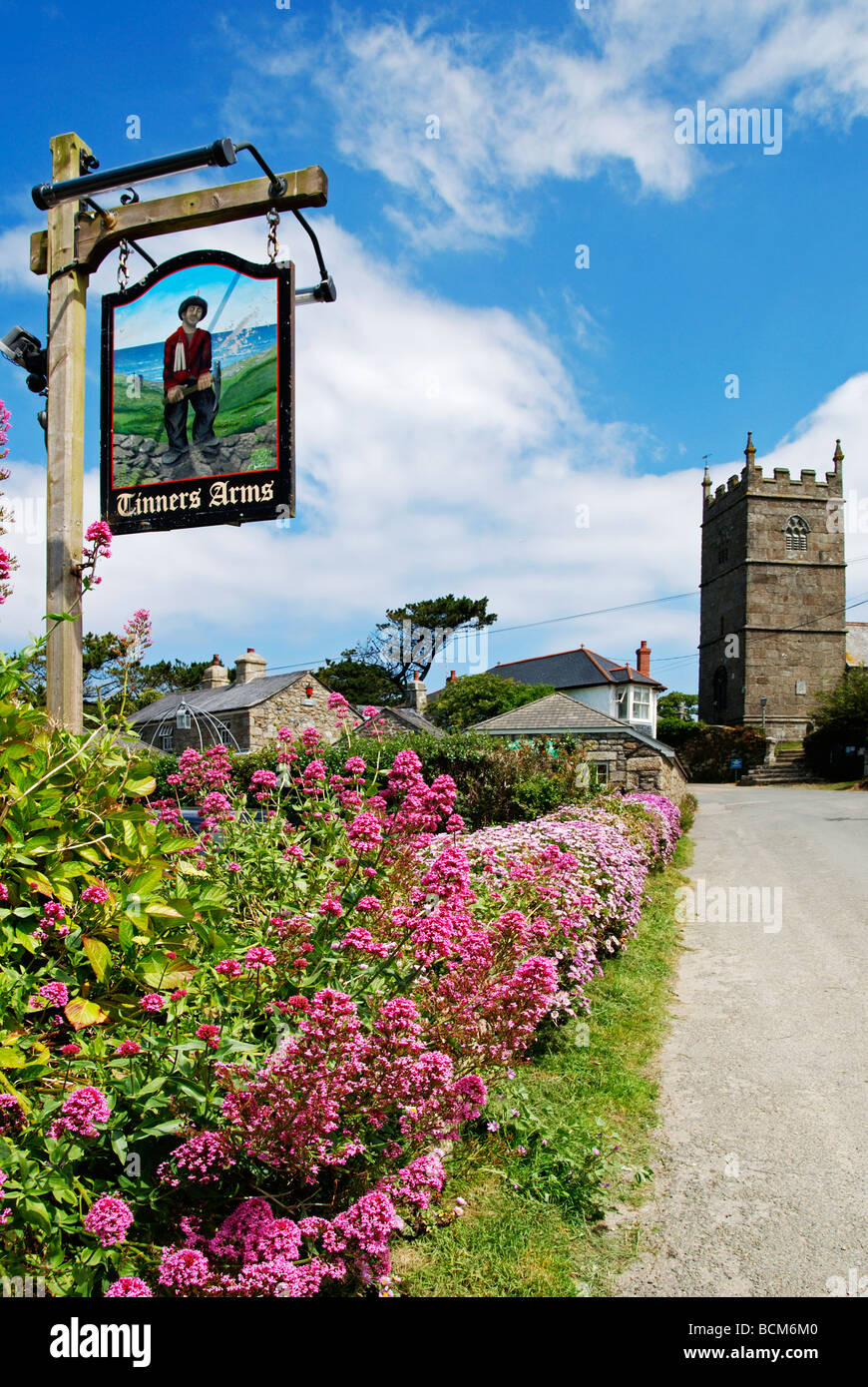 the small village of zennor in cornwall, uk - Stock Image