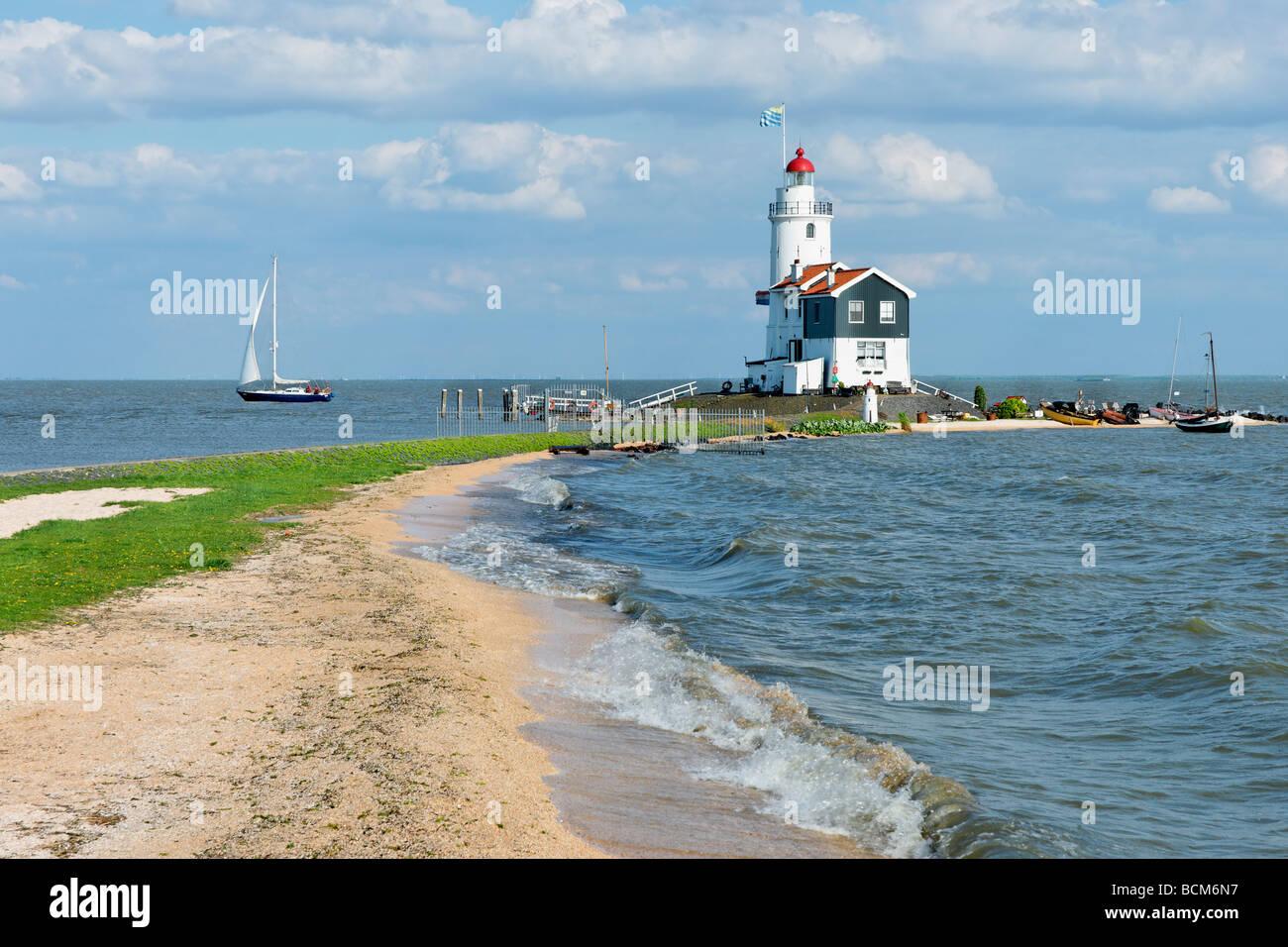 Het Paard van Marken Lighthouse, Marken, North Holland, Netherlands. - Stock Image