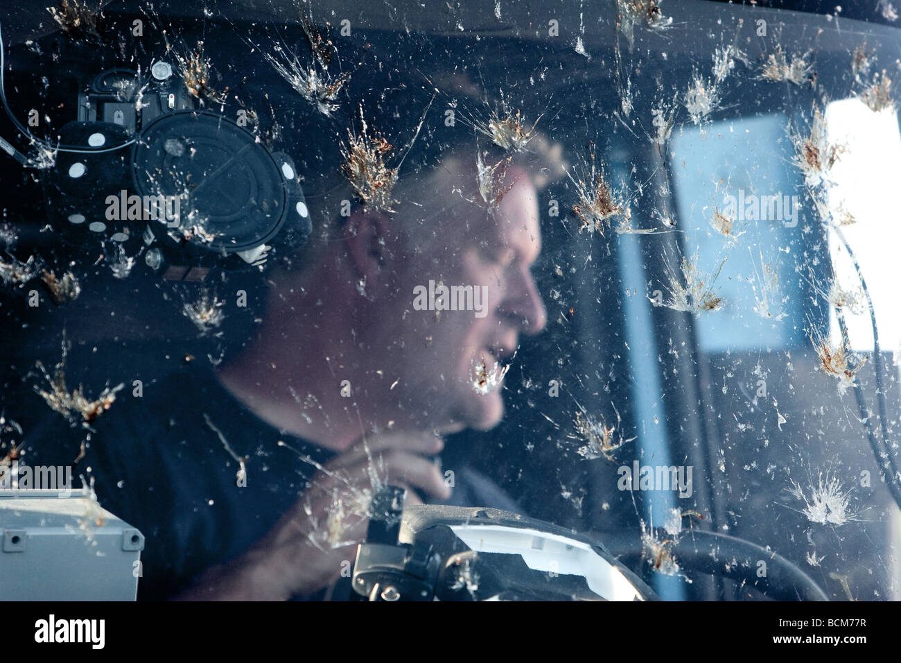 Herbert Stein, driver of the Doppler on Wheels truck. The windshield is spattered with bugs. Project Vortex 2 - Stock Image
