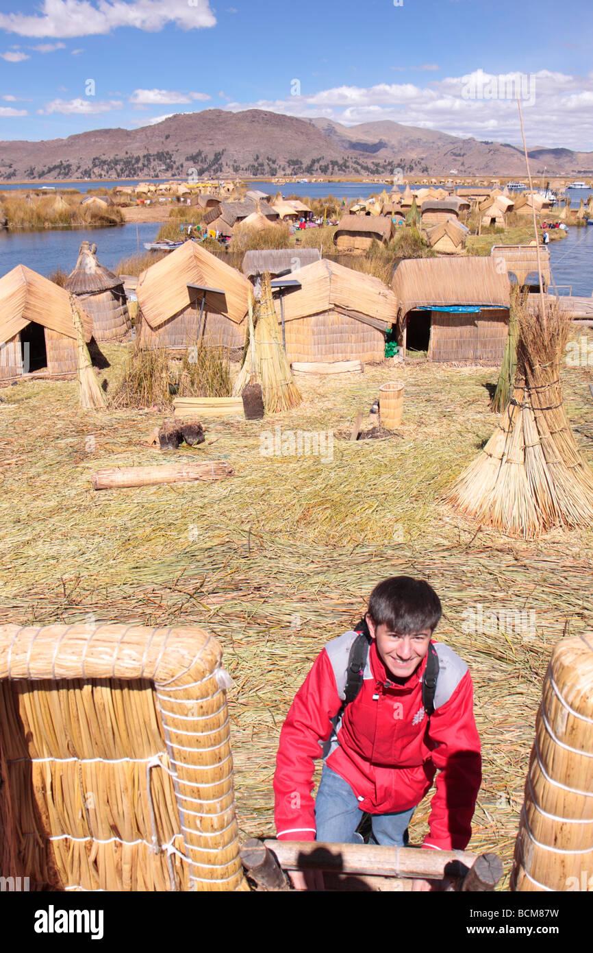 floating Uro Island, Lake Titicaca, Puno, Peru - Stock Image