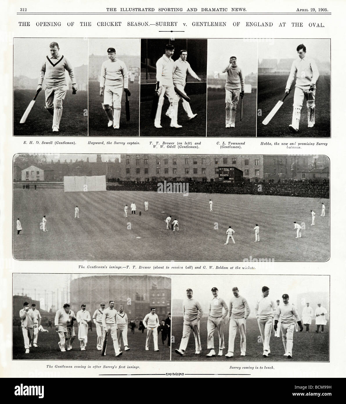 Cricket Season Opens 1905 photo spread of Surrey with the new and promising Hobbs v The Gentlemen of England - Stock Image