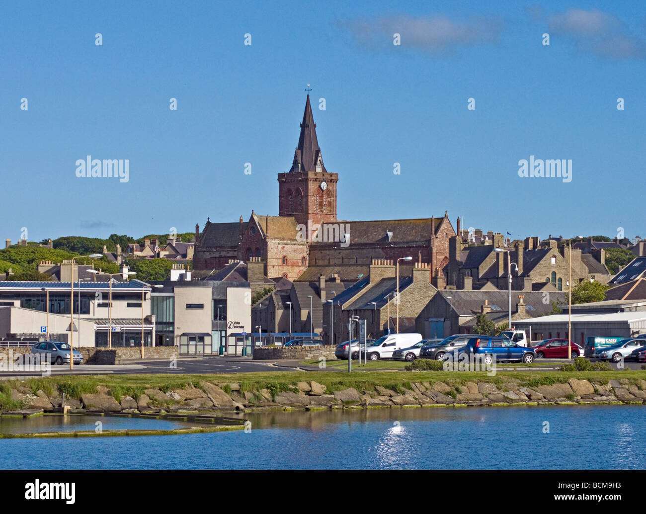 Kirkwall on Orkney Mainland in Scotland viewed from Ayre Road with St. Magnus Chthedral prominent in the centre. - Stock Image