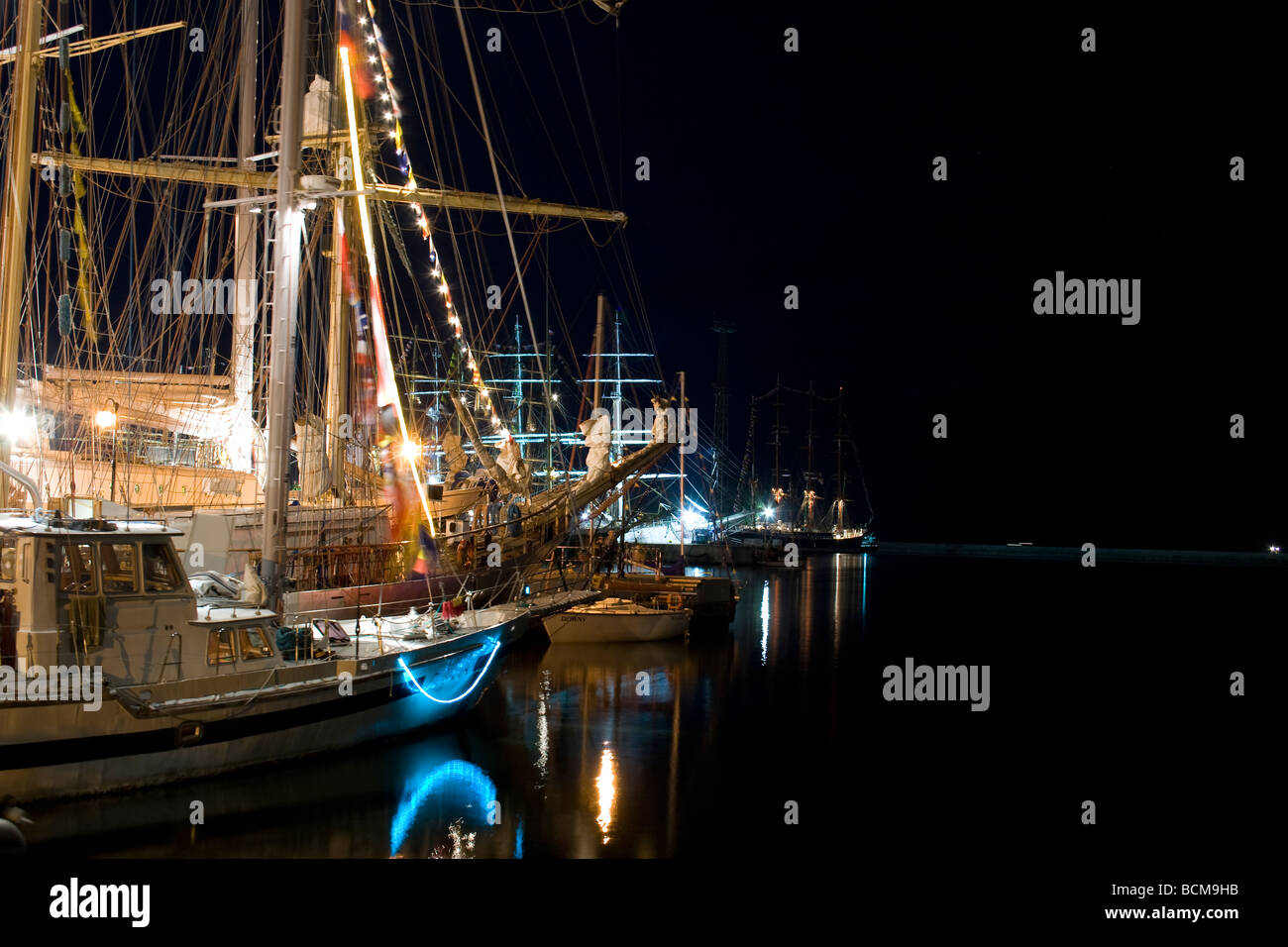 Night shot from the beginning of Tall Ships Races 2009 in Gdynia. - Stock Image