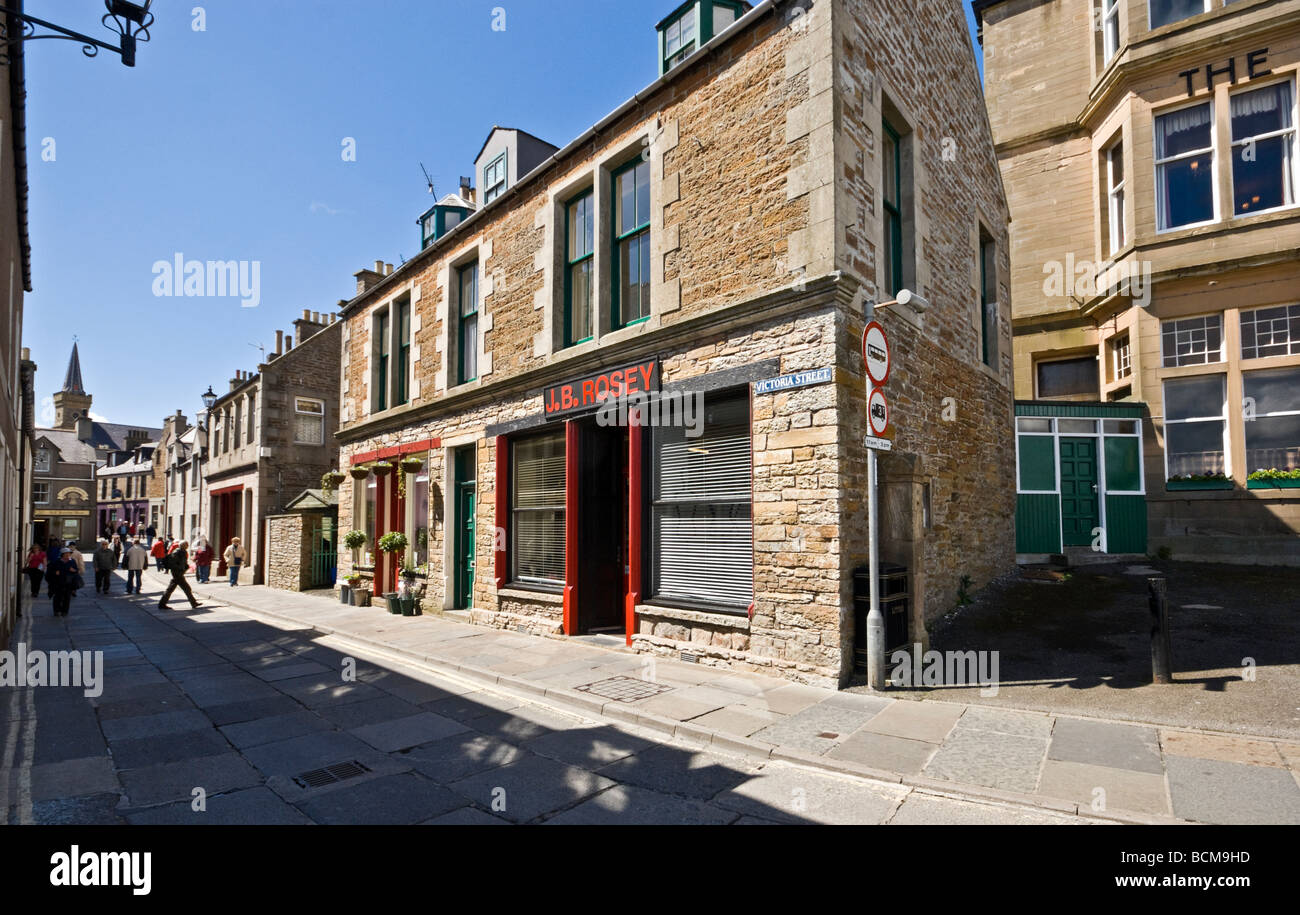 Pedestrianised Victoria Street in Stromness Orkney Mainland Scotland on a sunny summer day Stock Photo
