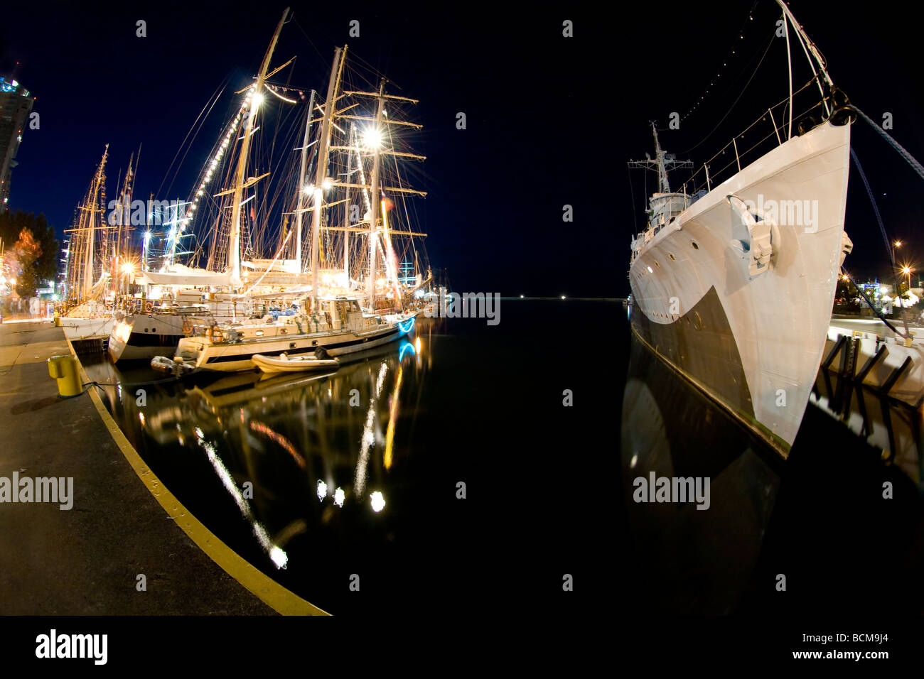 Night shot from the beginning of Tall Ships Races 2009 in Gdynia. Long exposure taken with fisheye lens. - Stock Image