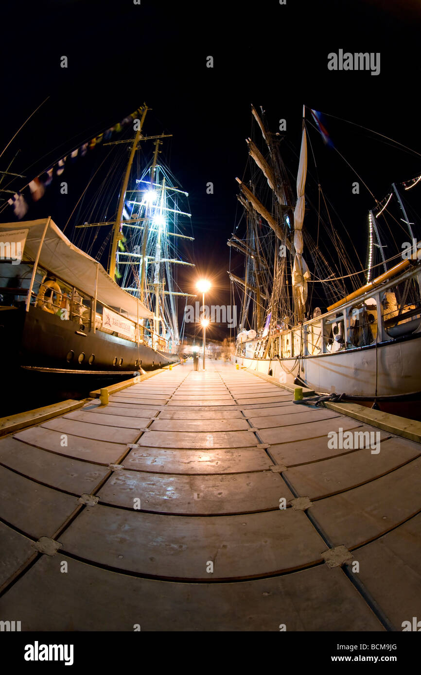 Night shots from the beginning of Tall Ships Races 2009 in Gdynia. Taken with fisheye lens. - Stock Image