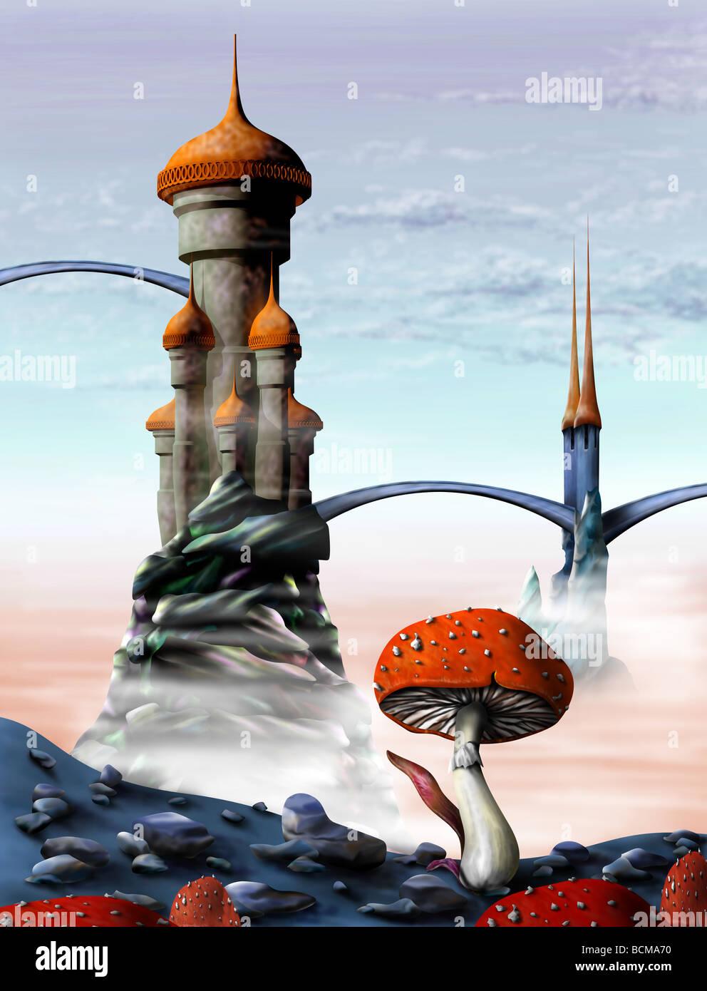 Illustration of a fantasy castle in an alien world - Stock Image