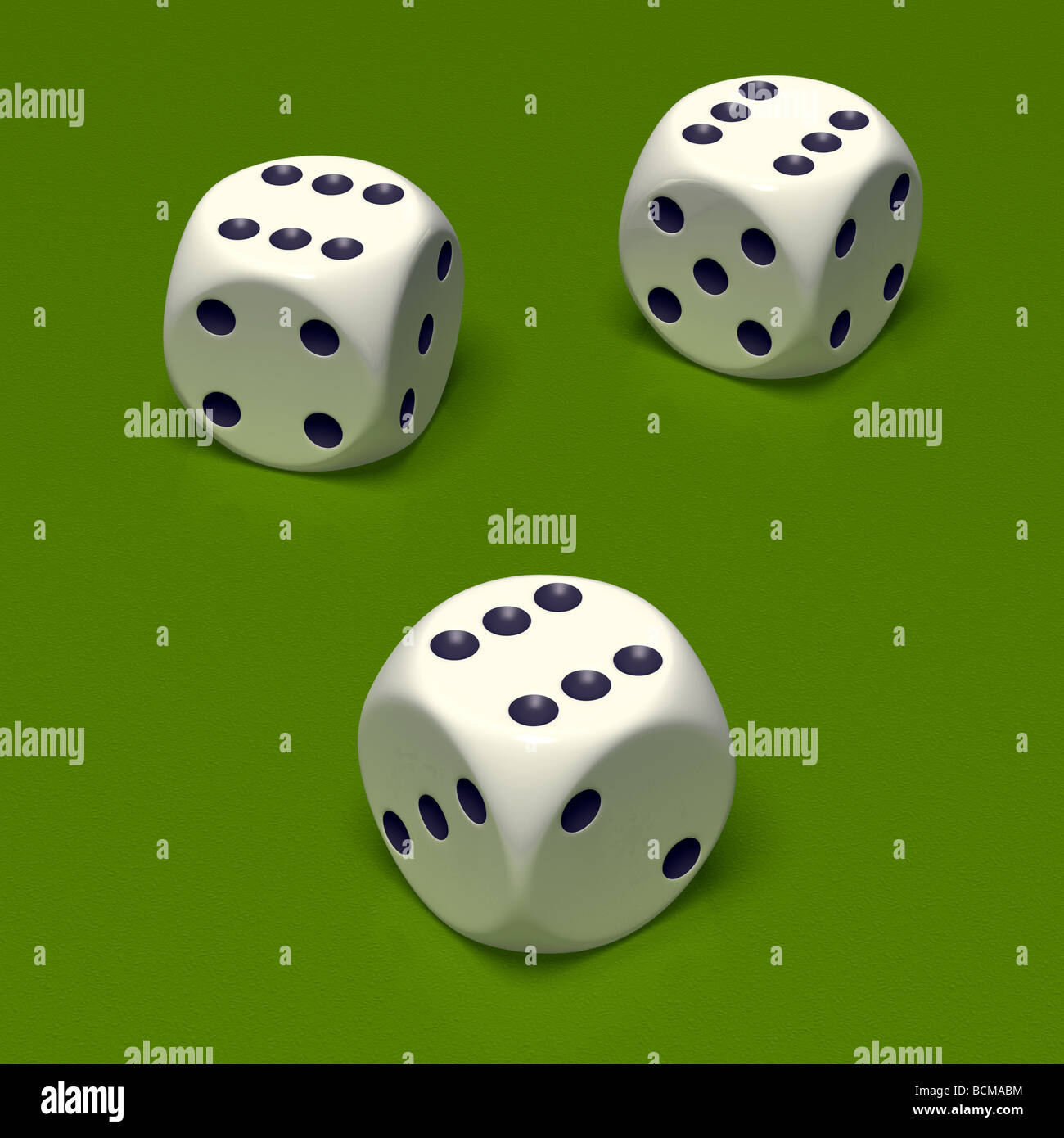 Three white dice on green background Triple six - Stock Image