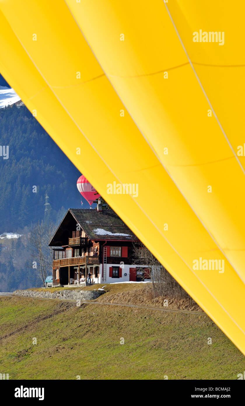 Chateau d Oex International Hot Air Balloon Festival Switzerland Stock Photo