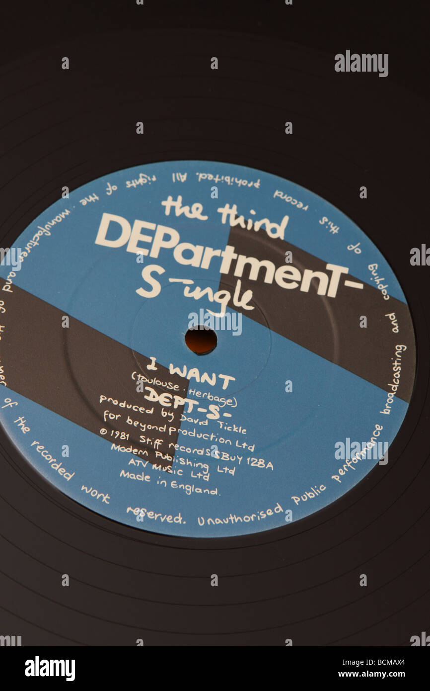 12 inch record single by Department S punk new wave band in 1981 called I want produced by Stiff  Records Stock Photo