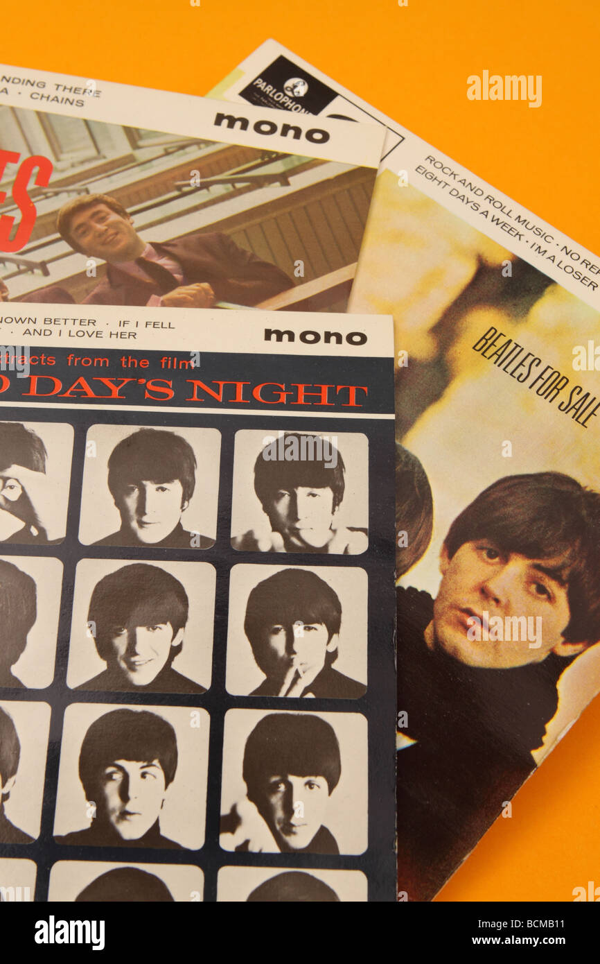 The Beatles extended player EP records singles including Hard Day's Night - Stock Image
