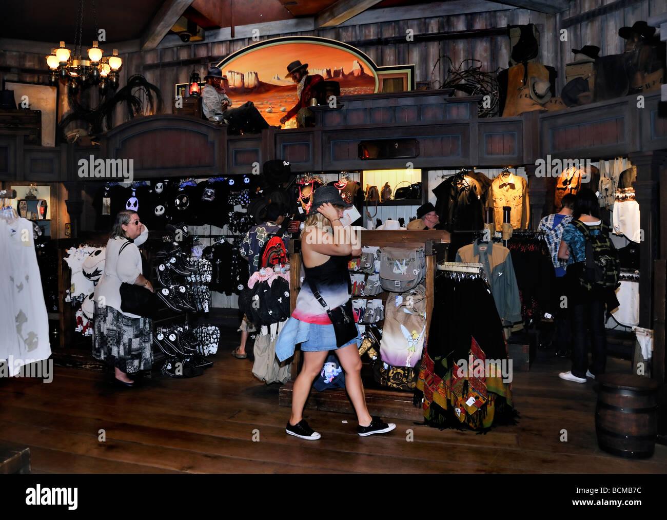 Paris France Teens Shopping 'Disneyland Paris' Tourists in 'Frontier land' Gift Store - Stock Image