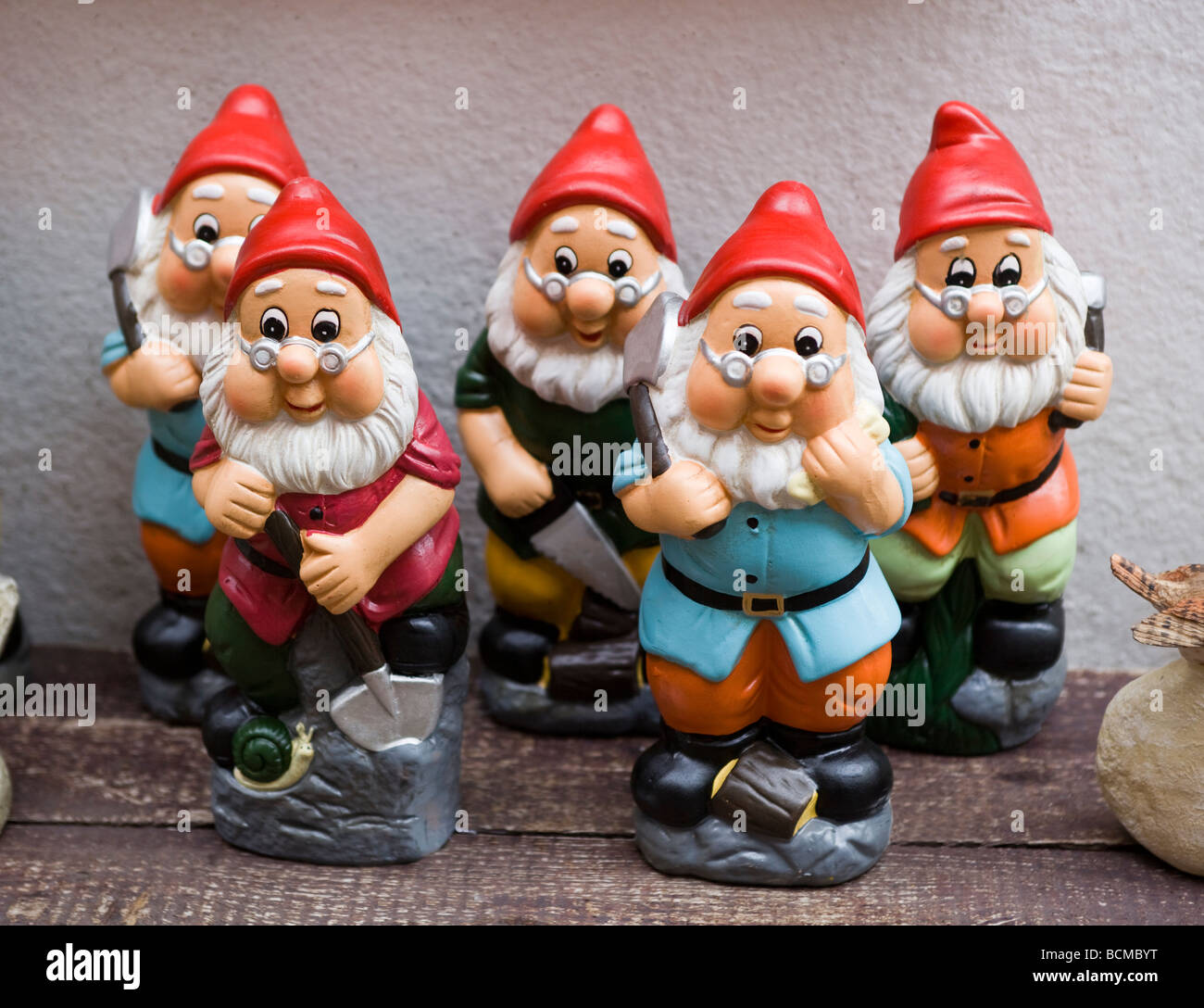 Five Garden Gnomes On Sale In Lynton North Devon England Stock