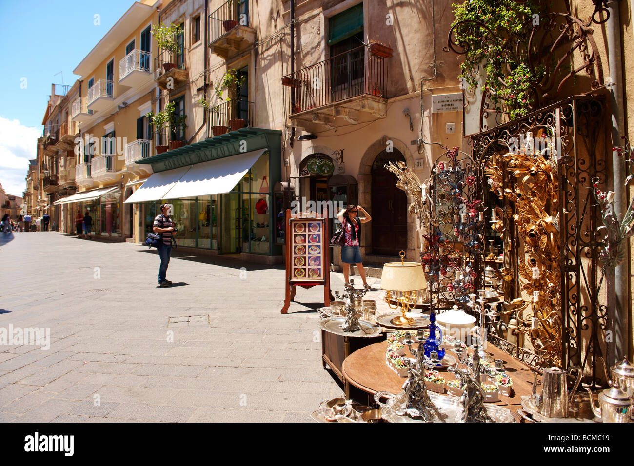 Antique shops in the main street Taormina, Sicily - Stock Image