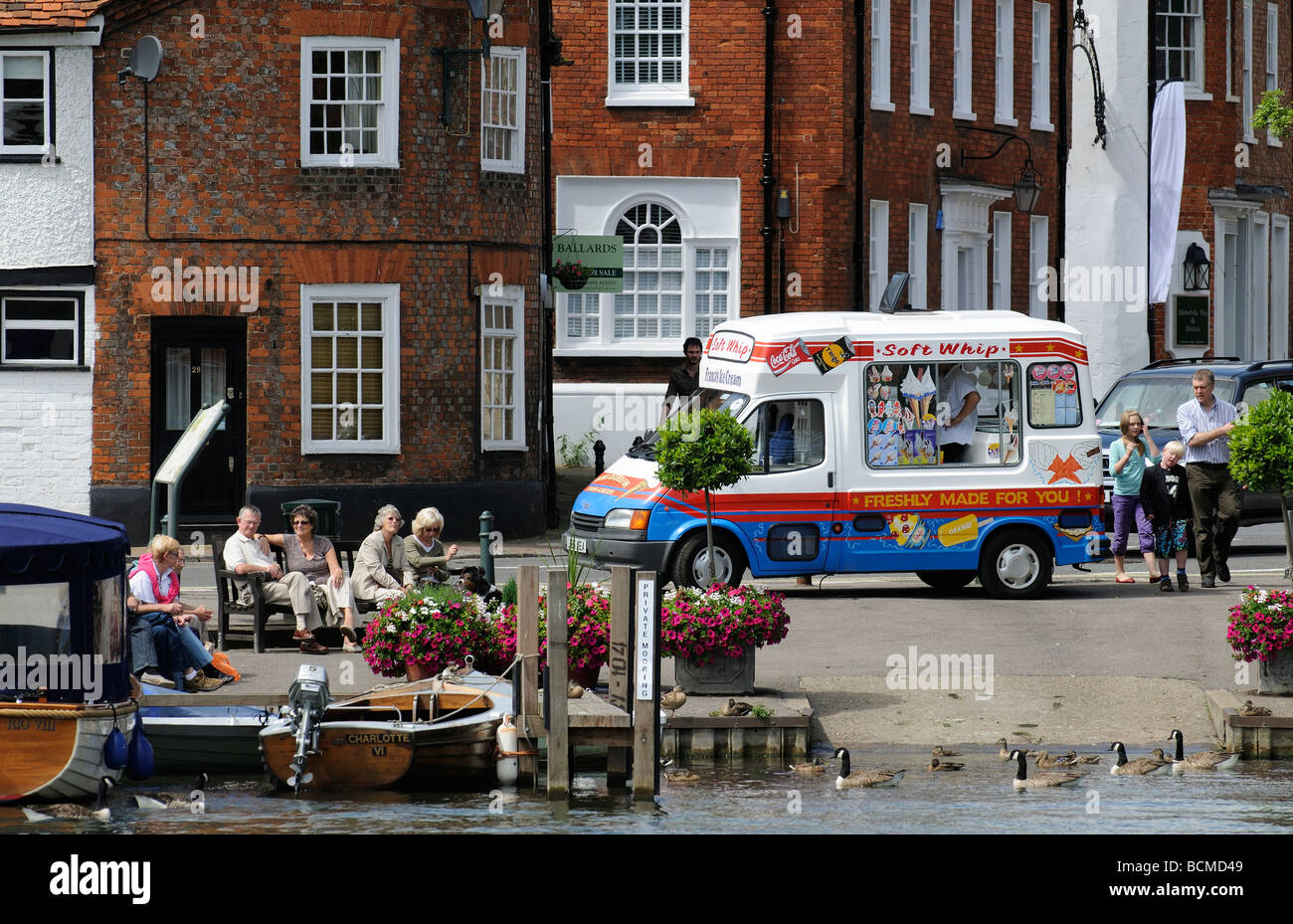 eb7867dd40 Ice Cream van parked on the riverside at Henley on Thames Oxforshire England  UK