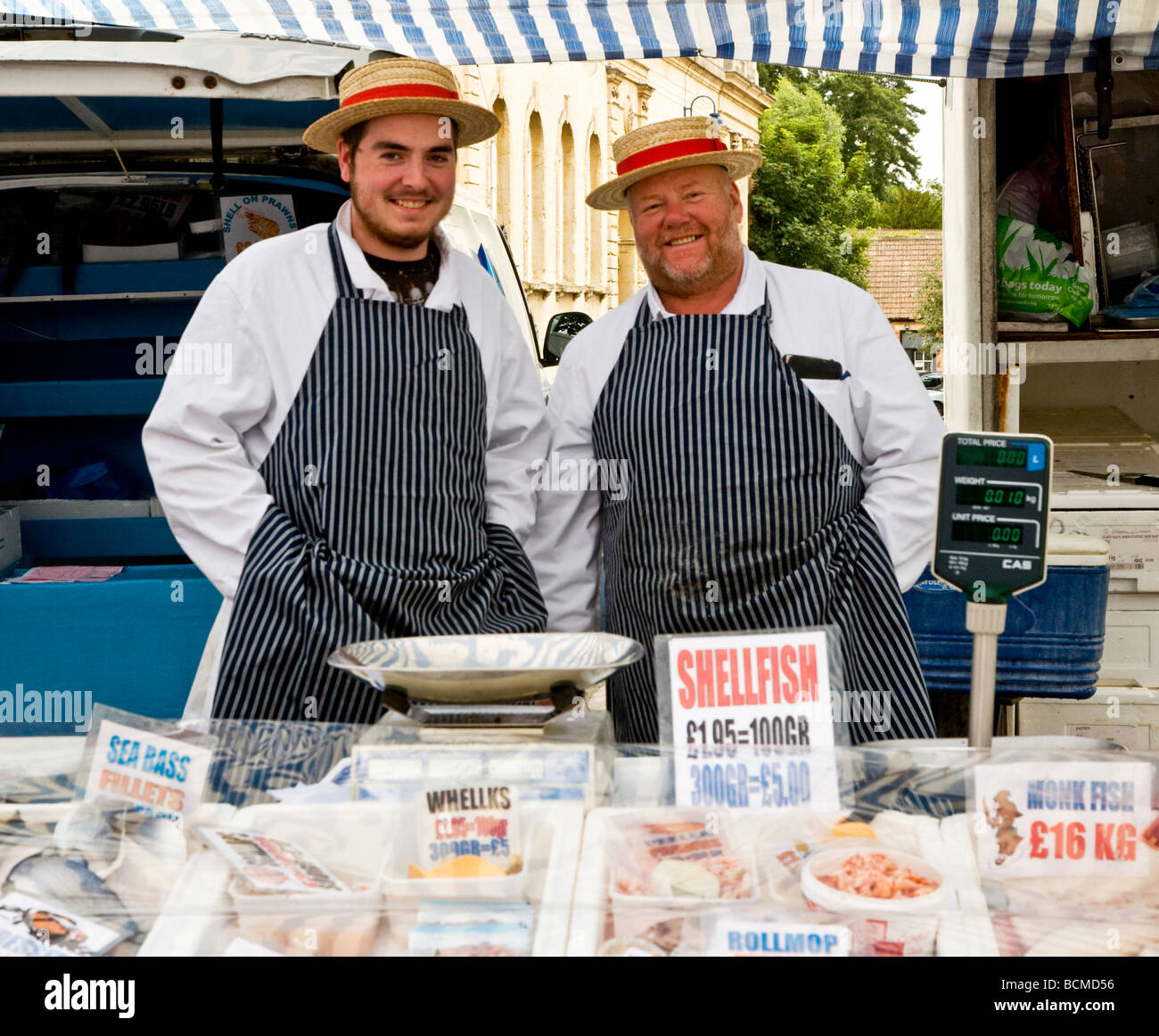 Fishmongers at the Thursday famer s market in the typical English market town of Devizes Wiltshire England UK - Stock Image